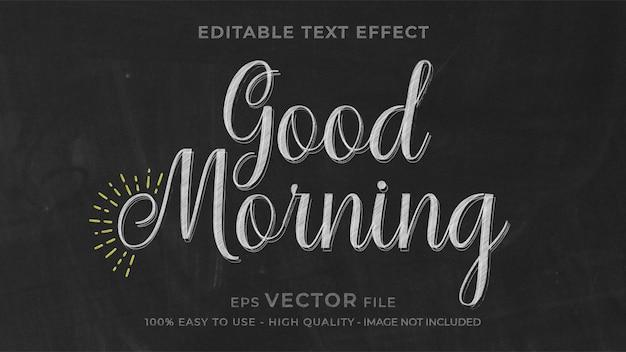 Доброе утро, мел, редактируемый текстовый эффект Premium векторы
