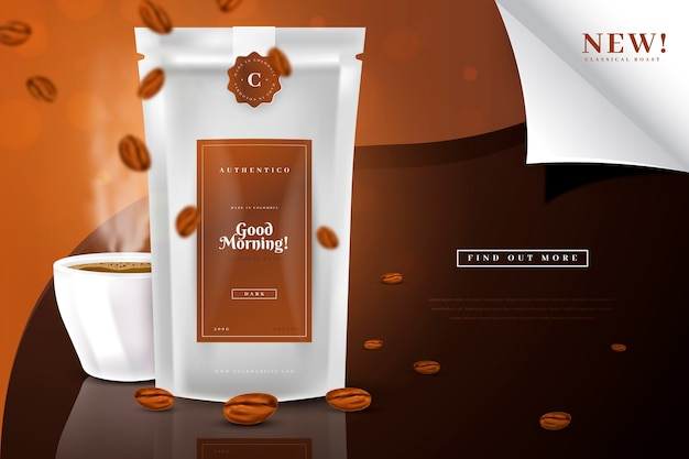 Good morning coffee drink product ad Free Vector