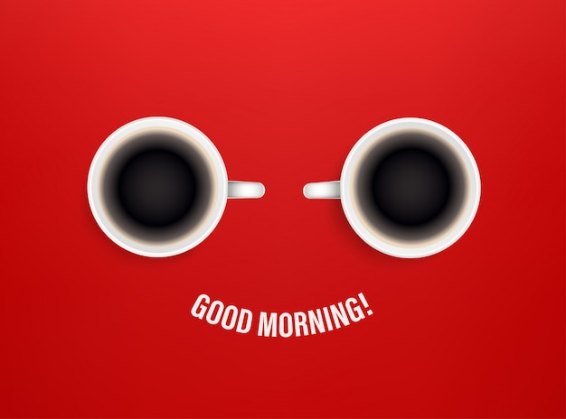 Good morning  concept with coffee cups Premium Vector