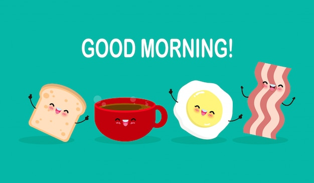 Good morning cute cartoon happy coffee cup, egg, toast, bacon, breakfast funny characters isolated flat  illustration Premium Vector