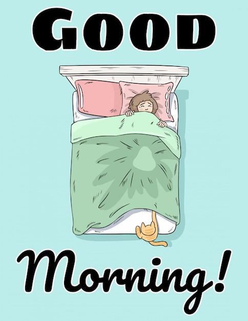Доброе утро милая открытка Premium векторы
