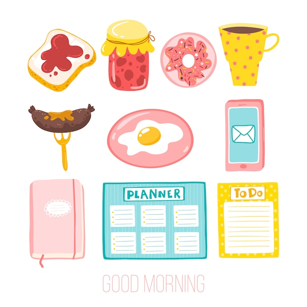 Good morning. cute set of girlish stickers. illustration in a simple cartoon style Premium Vector
