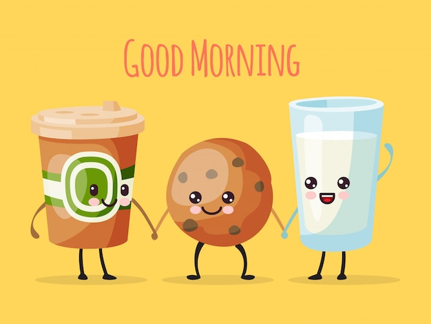Good morning funny cartoon character, cup of tea coffee, sweet cookie biscuit and milk glass  illustration. drawn cheerful person. Premium Vector