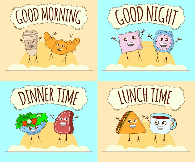 Good morning, good night, dinner time, lunch time. cute character Premium Vector