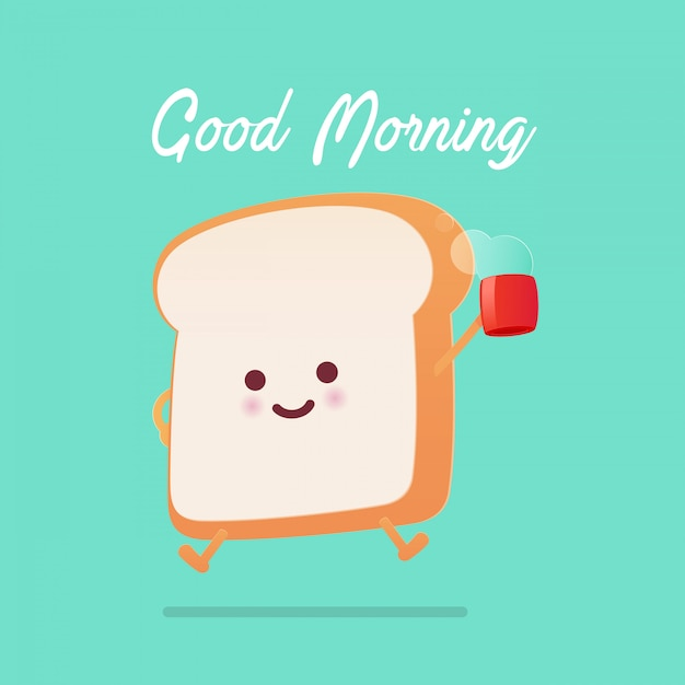 Good morning greeting on toasted bread cartoon against green background. Premium Vector