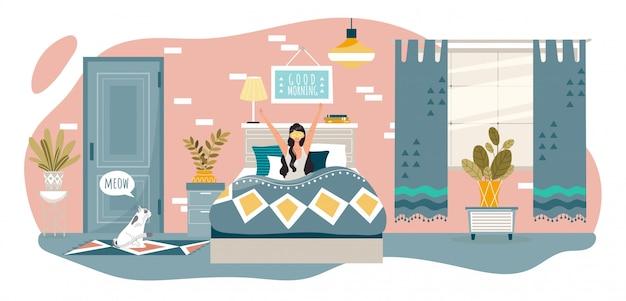 Доброе утро в спальне счастливая женщина просыпается в постели у себя дома после сна, отдыха людей здорового и иллюстрации образа жизни. Premium векторы
