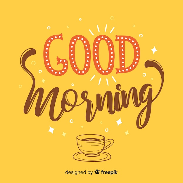 Good morning lettering background hand drawn style Free Vector