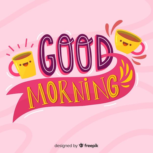 Доброе утро, надпись фон рисованной стиль Бесплатные векторы
