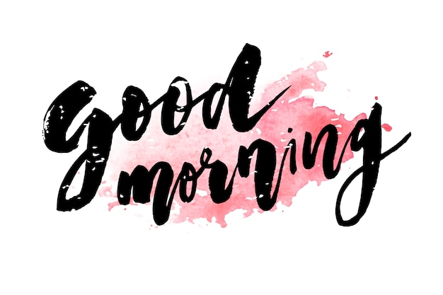 Good morning lettering calligraphy Premium Vector