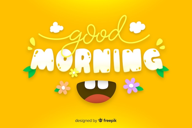 Good morning lettering decorative background Free Vector