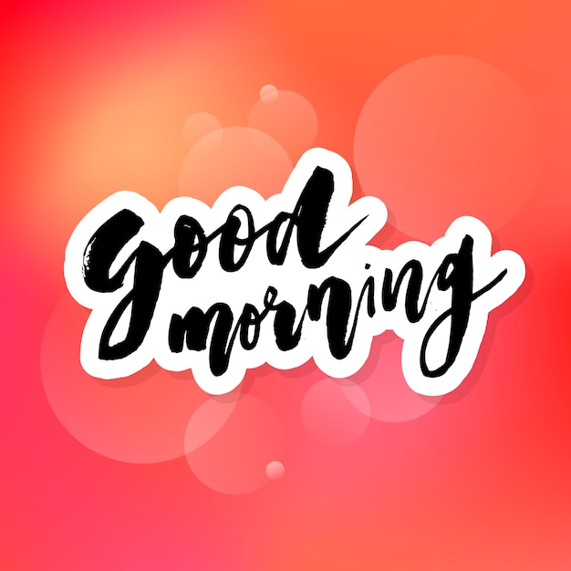 Good morning lettering on red Premium Vector