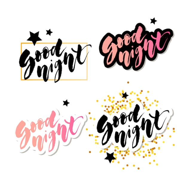 Good morning lettering text vector illustration calligraphy Premium Vector