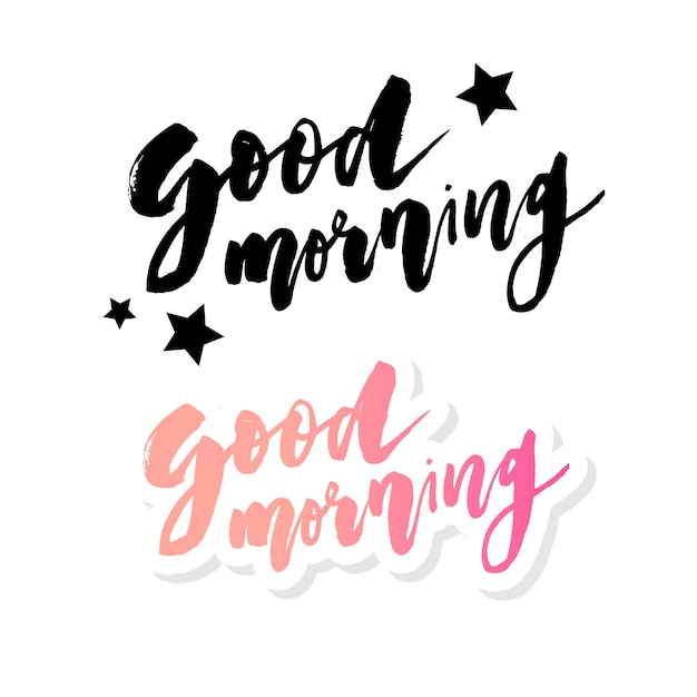 Good morning lettering text Premium Vector