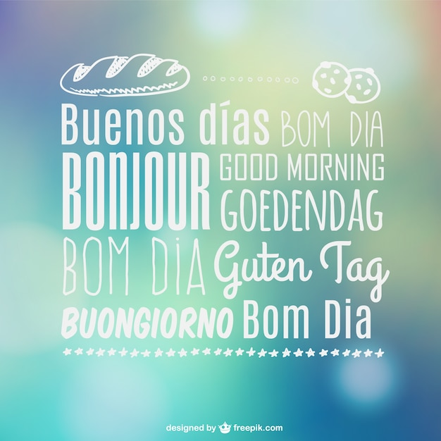 Good Morning In French And Italian : Good morning multilingual typography vector free download