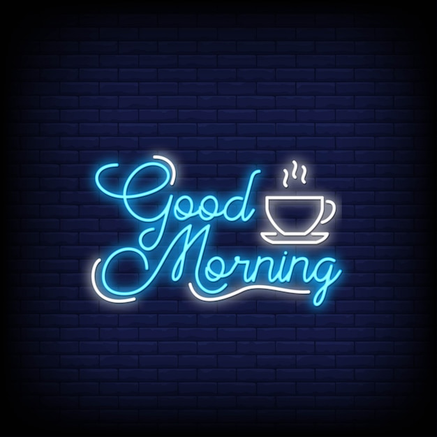 Good morning in neon style. good morning neon signs. Premium Vector