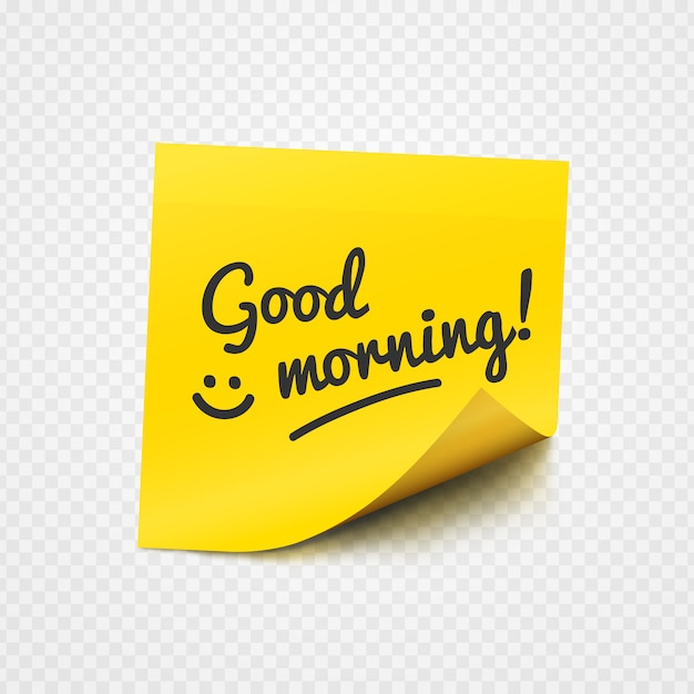 Good morning note on yellow sticky paper Premium Vector