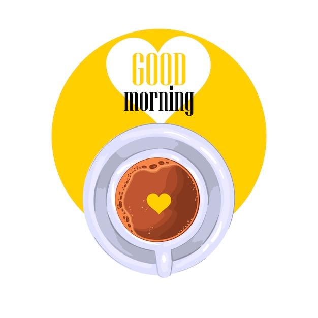 """good morning"" slogan with coffee cup in yellow circle with white heart. Premium Vector"