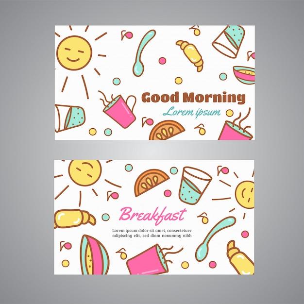 Good morning text. breakfast slogan. cafe, bakery concept business card. coffee and tea vector design Premium Vector