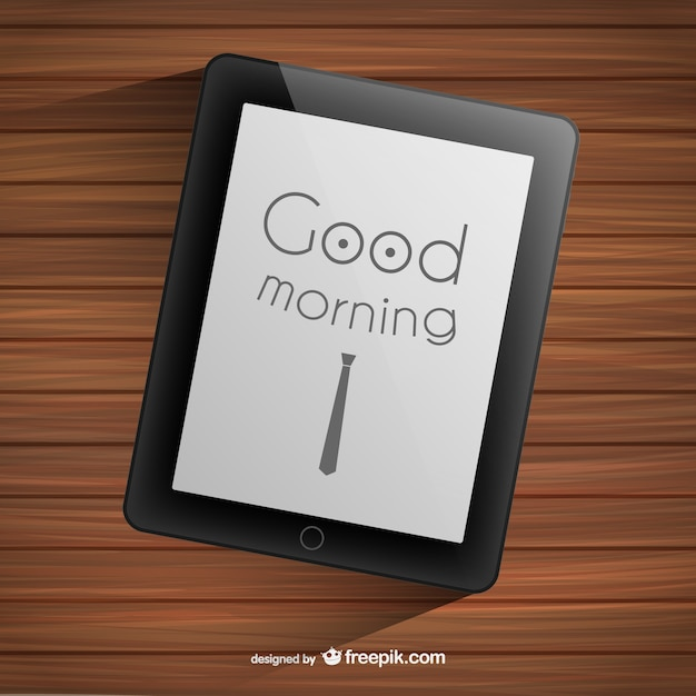 Good morning typography on tablet Free Vector