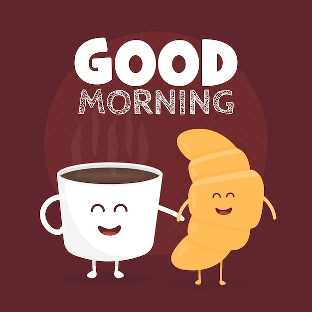 Good morning vector illustration. funny cute croissant and coffee drawn with a smile, eyes and hands. Premium Vector