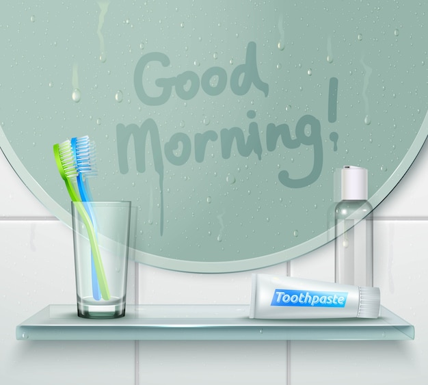 Good morning wash composition Free Vector