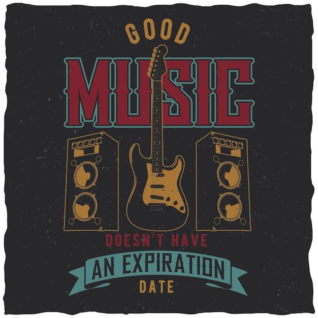 Poster di buona musica con chitarra al centro Vettore gratuito