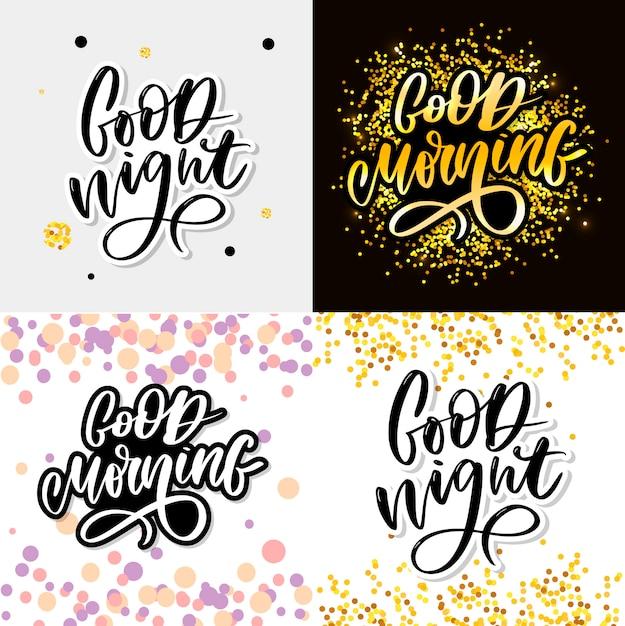 Доброй ночи и доброе утро типографии надписи Premium векторы