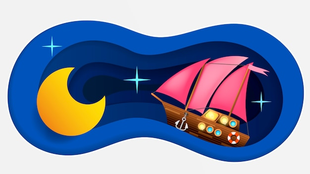Good night background in paper style Premium Vector