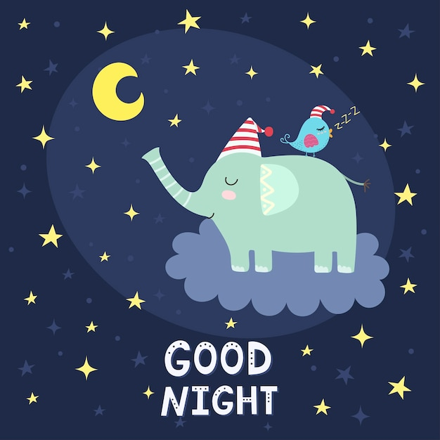 Good night card with cute elephant flying on the cloud Premium Vector