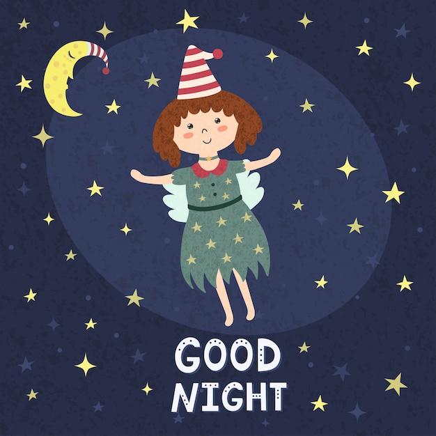 Good night card with a cute fairy Premium Vector
