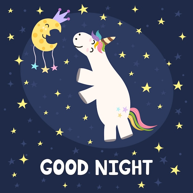 Good night card with cute unicorn and moon. Premium Vector