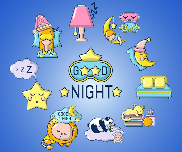 Good night concept banner, cartoon style Premium Vector