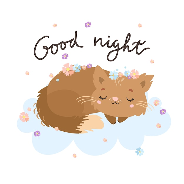 Good night greeting card with cat on the cloud. Free Vector