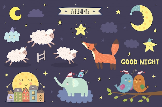 Good night isolated elements for your design. sweet dreams clipart collection. Premium Vector