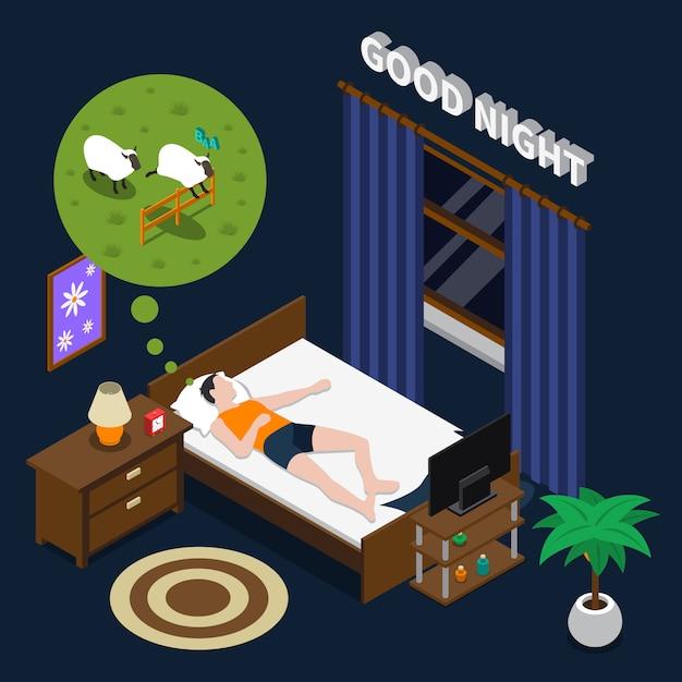 Good night isometric illustration Free Vector