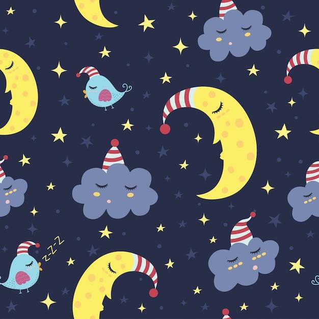 Good night seamless pattern. Premium Vector