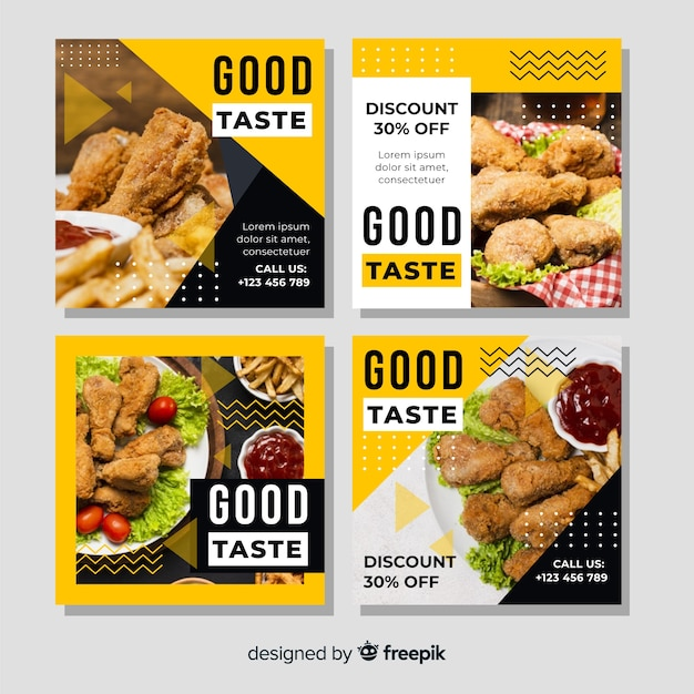Good taste instagram post collection with photo Free Vector