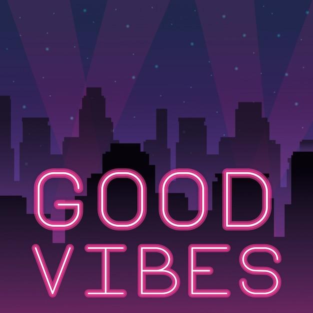 Good vibes neon advertising Premium Vector
