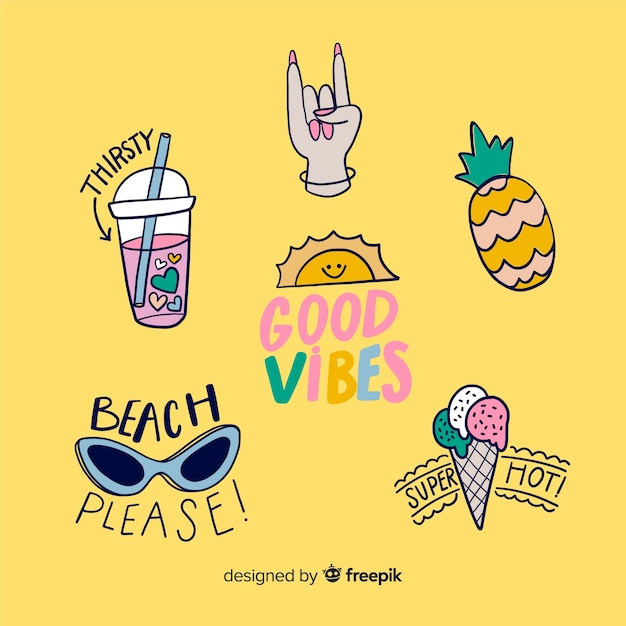 Good vibes stickers to decorate photos Free Vector
