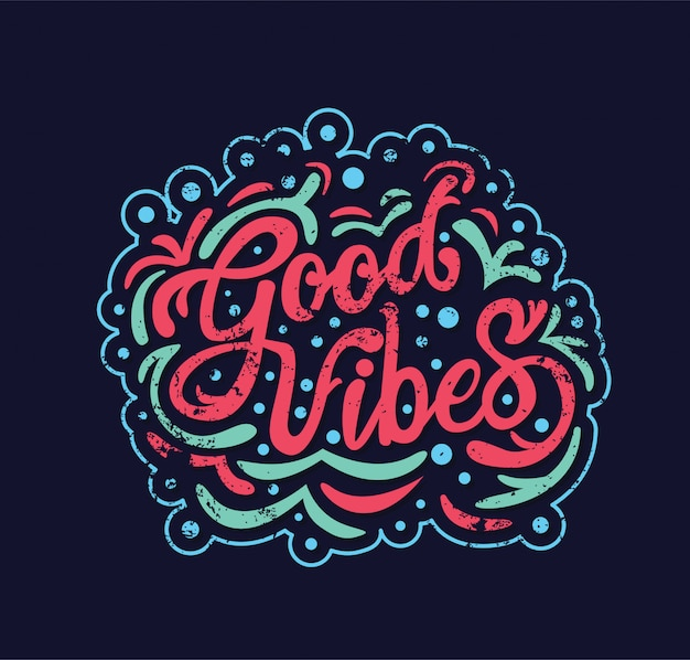 Good vibes typography Premium Vector