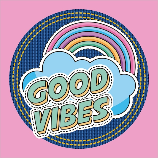 Good vibes words rainbow cloud fashion decoration patches Premium Vector