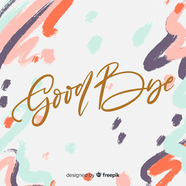 Goodbye brush-stroke background Free Vector