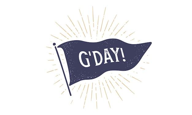 さようなら。 grahpicにフラグを立てます。テキストさようならと古いヴィンテージの流行の旗 Premiumベクター