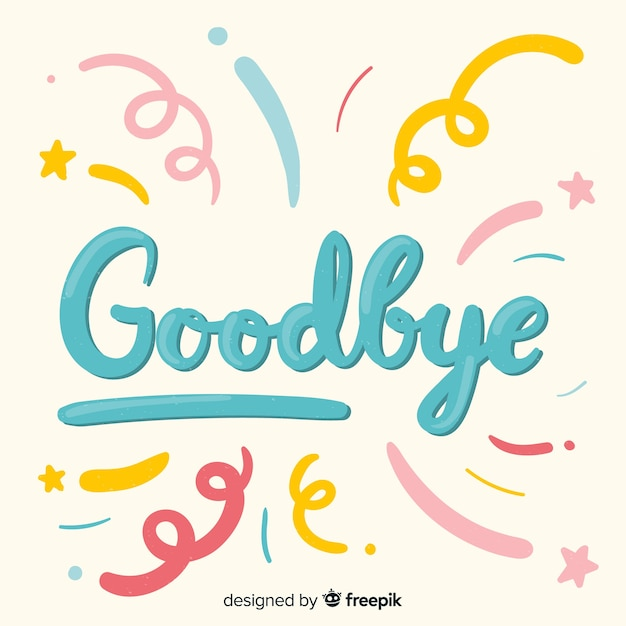 Goodbye spirals lettering background Free Vector