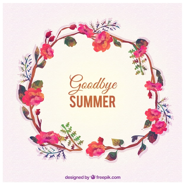 Goodbye summer with floral wreath Free Vector