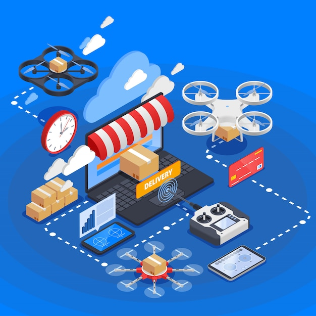 Goods delivery by drones isometric composition Free Vector