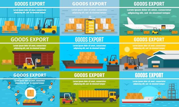 Goods export banner set Premium Vector