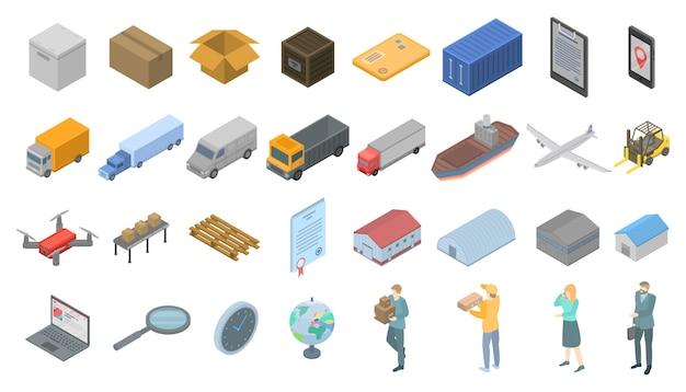 Goods export icons set, isometric style Premium Vector