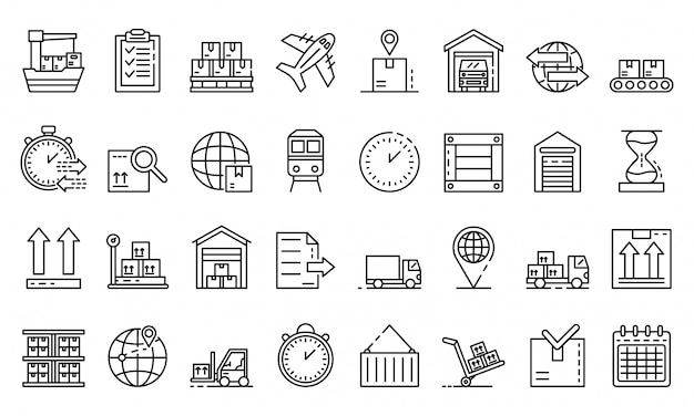 Goods export icons set, outline style Premium Vector
