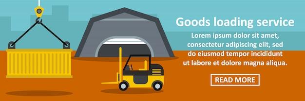 Goods loading service banner horizontal concept Premium Vector